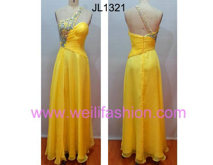 Long Beading Pleated Applique Chiffon Evening Dresses JL1321