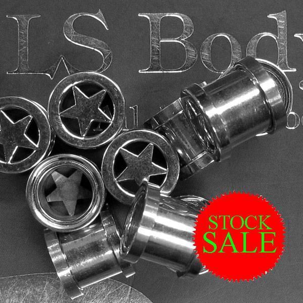 Stock Sale 316L SS Flesh Tunnel w/Star