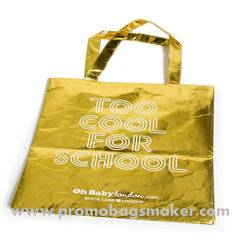 Golden Metallic Nonwoven shopping bag 15W x17H X6D