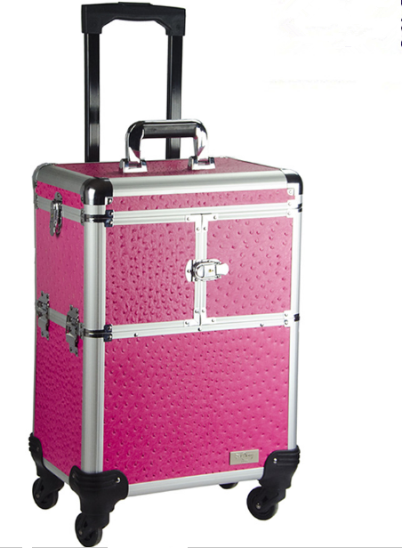 Pink Train Beauty Cosmetic Case/ Expandable Makeup Case with Wheels/ Rolling Aluminum Case Drawers T