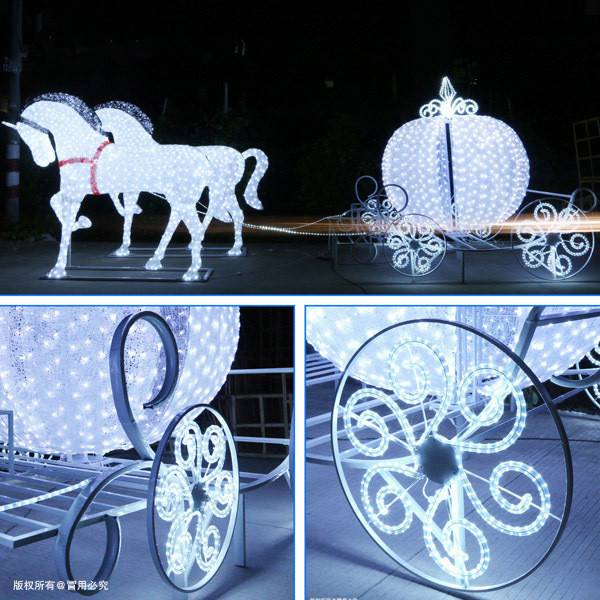 LED Carriage with Horses Christmas Decoration Lights