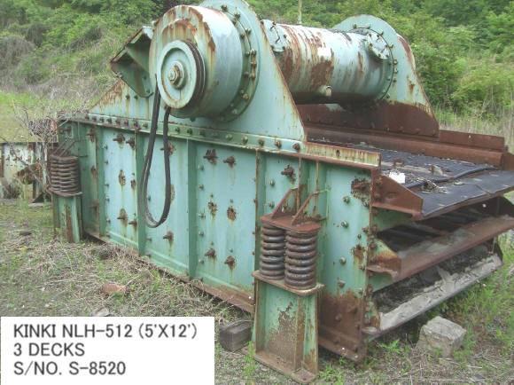 USED KINKI NLH-512 (5 FT X 12FT) 3 DECKS HORIZONTAL TYPE VIBRATING SCREEN S/NO. S-8520 WITH MOTOR