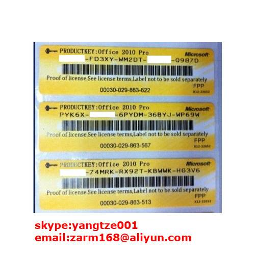 Office 2010 Professional COA Sticker (FPP Key)