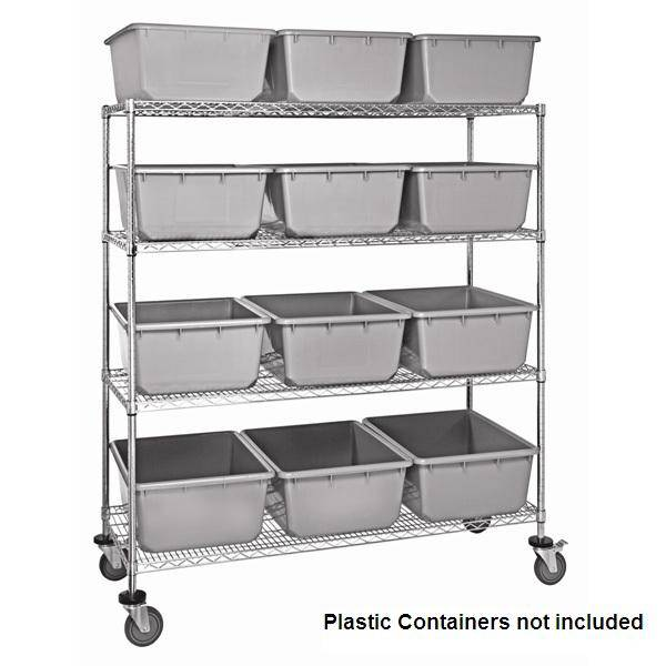 Selling chrome wire shelving carts with bins