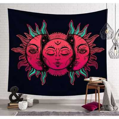 Sun Moon Tapestry Psychedelic Celestial Indian Sun Hippie Hippy Polyster Tapestry Wall Hanging Throw