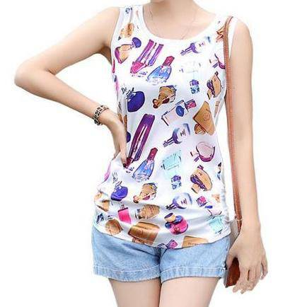 Women's all over print cotton tank top