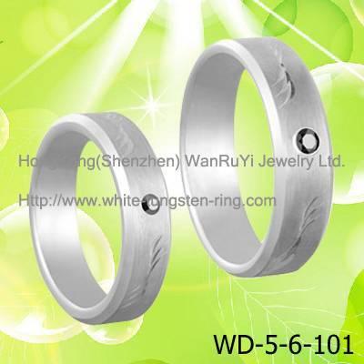 Simple White Tungsten Wedding Bands