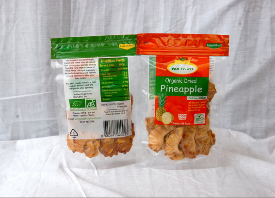 Organic dried pineapple in 100g pouches by YAO FRUITS