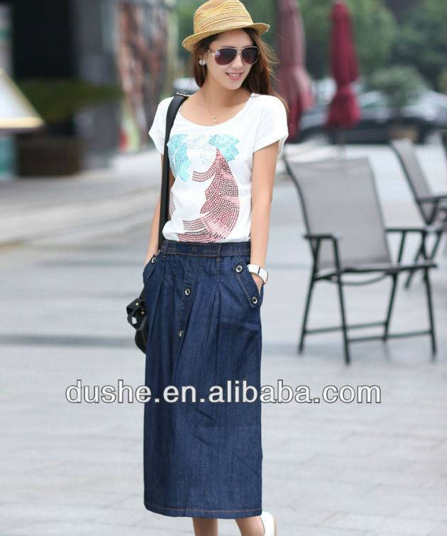 U'sake wholesale long denim skirt S131222