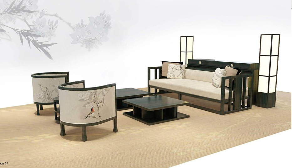 Chinese style classic living room sofa set villa hotel lobby sofa furniture