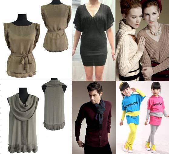 apparel for men & women,dress, top, jumpsuip, children clothing, cashmere apparel, wool garments