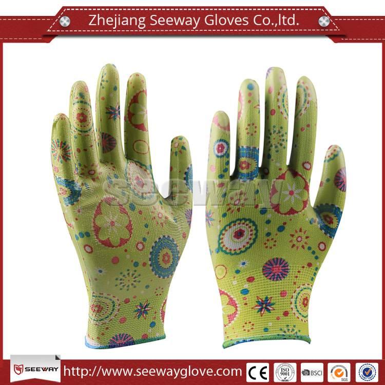 SeeWay Transparent Nitrile coated Palm Polyester Printing Gardening Work Gloves