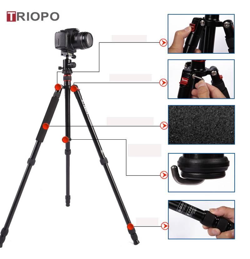 TRIOPO MT-2504X8.C+NB-1S tripod kit ,aluminium alloy tripod and SLR camera tripod with monopod for