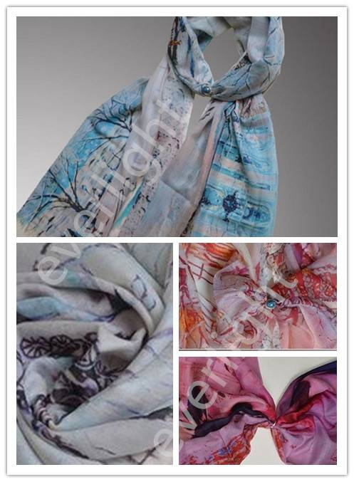 Women's 100% wool printed lightweight shawl scarves