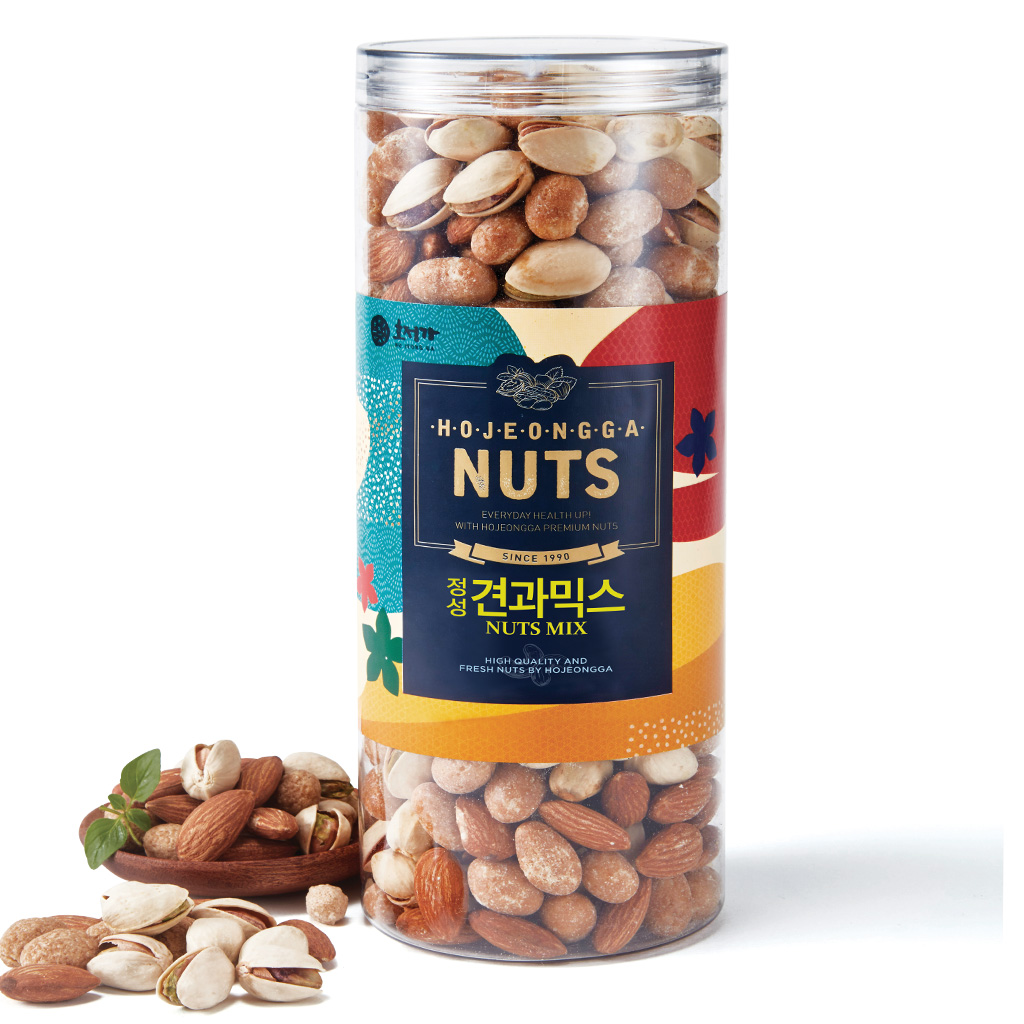 Hojeongga Jeongseong Mixed Nuts 525g_Roasted Almond 175g+Pistachio 175g+Honey Roasted Peanuts 175g