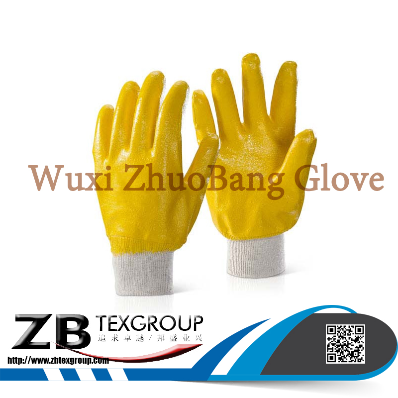 High quality 15G seamless Jersey cotton liner nitrile full coated oil resistant work hand glove