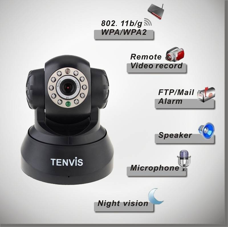 TENVIS WIRELESS IP CAMERA JPT3815W BLACK WITH ADAPTER FOR USA,TENVIS IP CAMERA