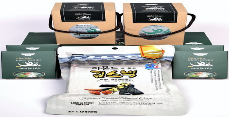 Korean style healthy Seaweed snack with Almond