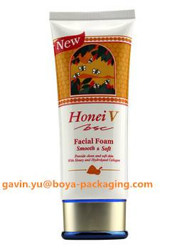 facial foam cosmetic tube packaging container with metalized top cap