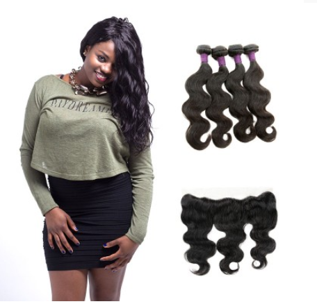 [9A]4 Bundles Brazilian Body Wave Hair Weave With Lace Frontal