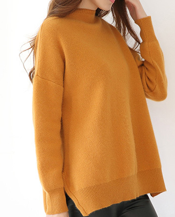 fashion ladies sweater knitted crew long sleeve