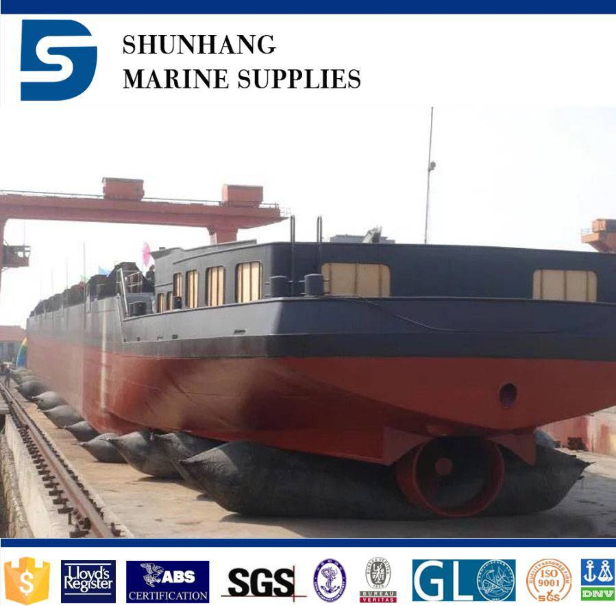 Marine pneumatic rubber airbag for ship launching