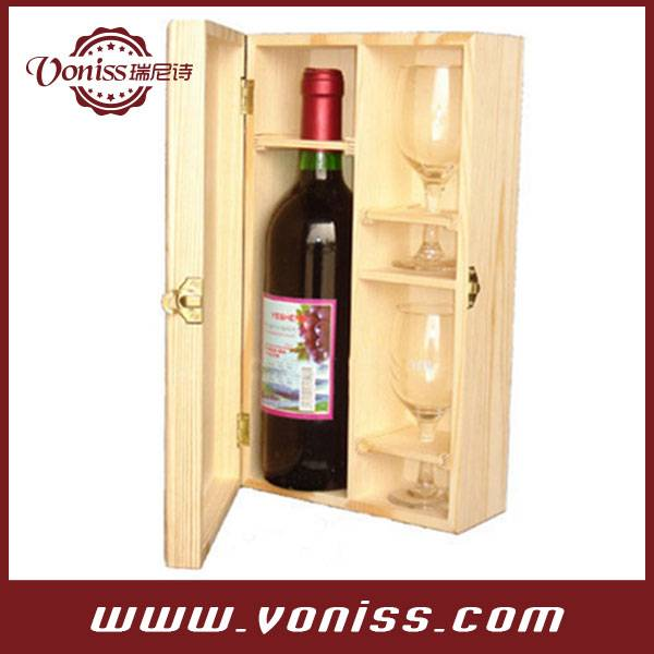 Wooden Single Bottle Wine Box Case Carrier,Wood Holder, Natural Wooden Color, Holds 1 Bottle 750ML a