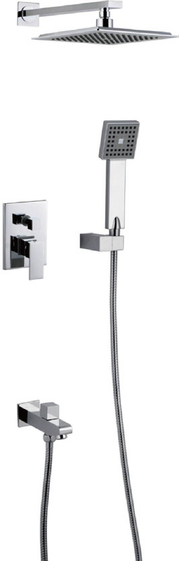Modern chrome brass in-wall bathroom concealed shower faucet