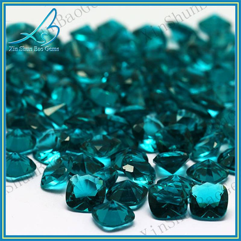 hot sale cushion shape aquamarine glass stone beads