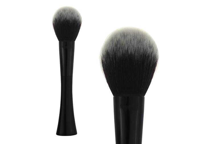 Conical Black Plastic Handle Contour Blush Brush Grey Nylon Hair Makeup Brush