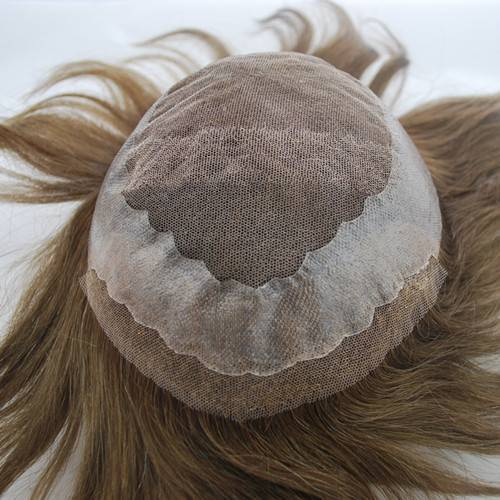 French lace with PU around #4 Medium brown Hairpiece mens toupee