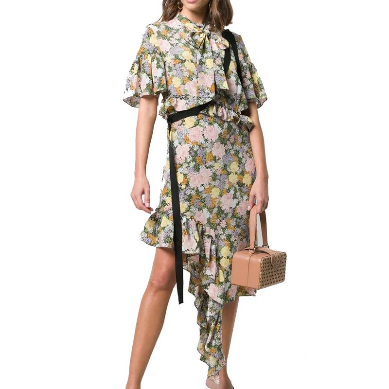 Ruffle Sleeve Asymmetrical Hem Flounce Floral Printed Midi Shirt Dress with Button