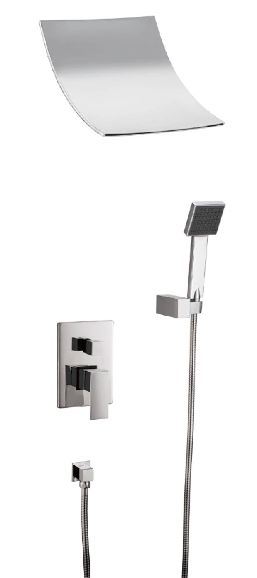 Modern chrome brass waterfall in-wall concealed shwoer faucet set