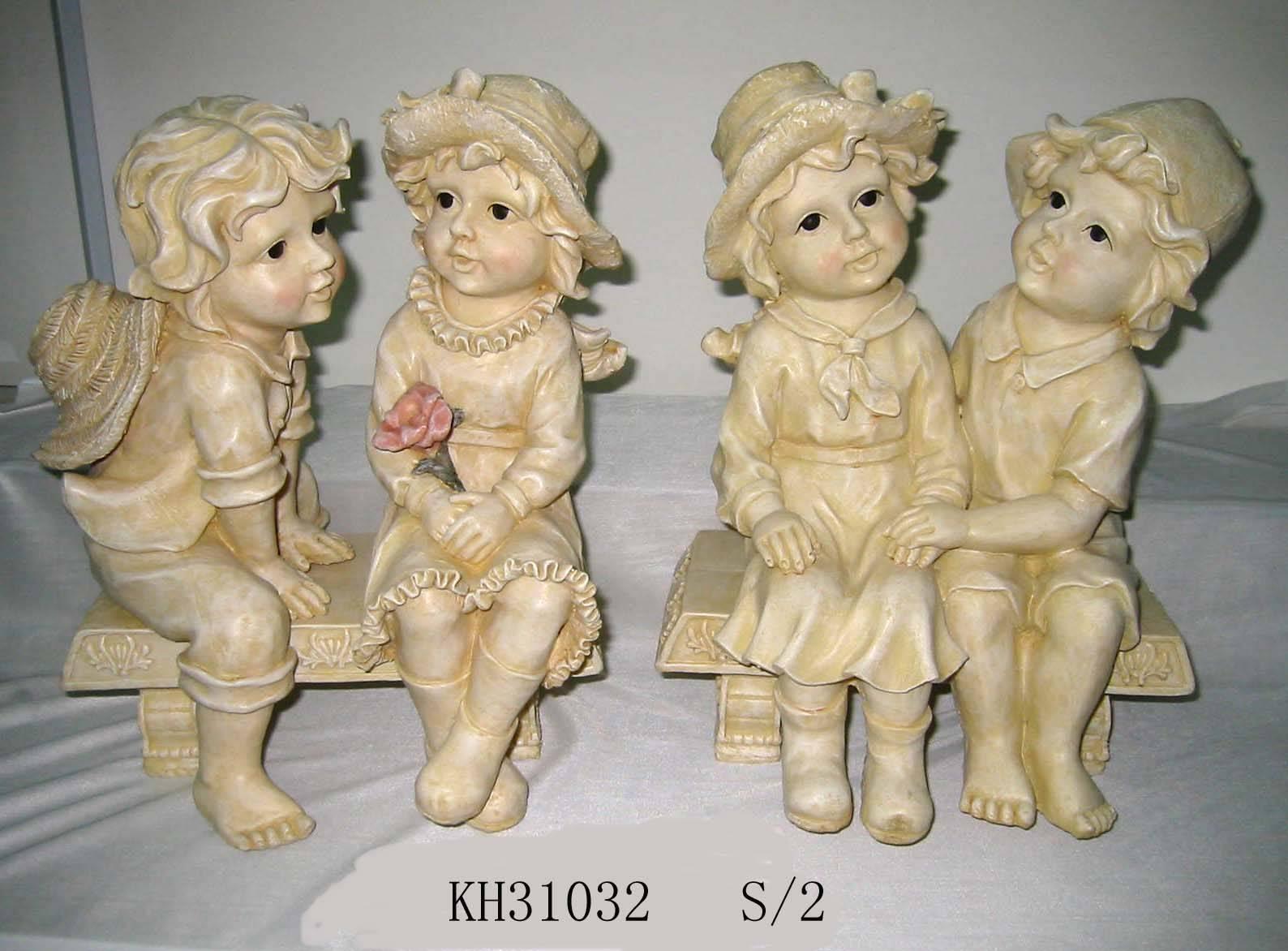 sell garden polyresin bench sculpture, figurine, statue