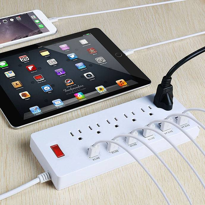 6 way 250v surge protector with multiple usb port us type convenient electrical outlet