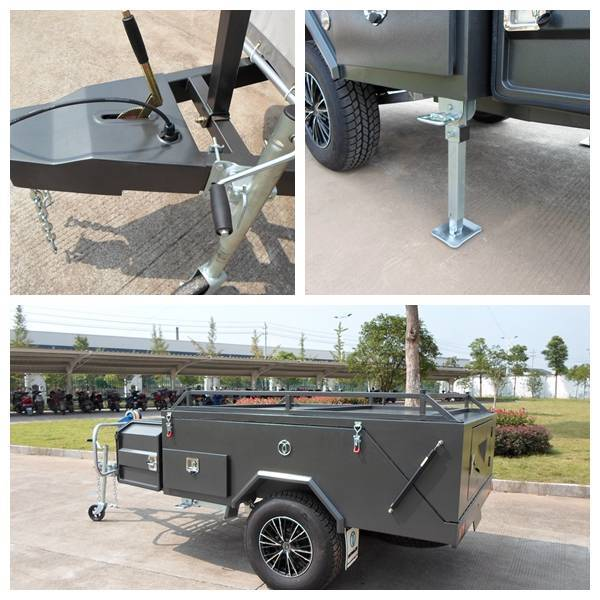 Off road backward folding hard floor camping trailer with electrical braking and galvanized stabiliz