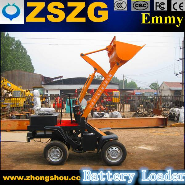 electric mini wheel loader with fork grapple for loading wood branches