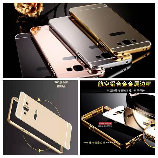 Mobile phone Mirror Back+Metal Bumper Cover Case for Samsung,Iphone,Huawei,Sony, Motorola, LG,HTC...