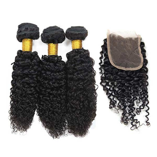 8A Indian Jerry Curly Human Virgin Hair Weave 3 Bundles With Lace Closure