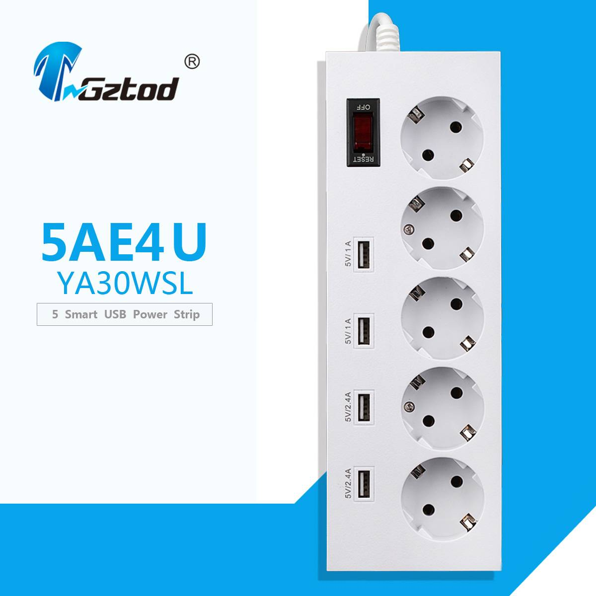 5 way multiple usb power socket with surge protector european plug with child protection