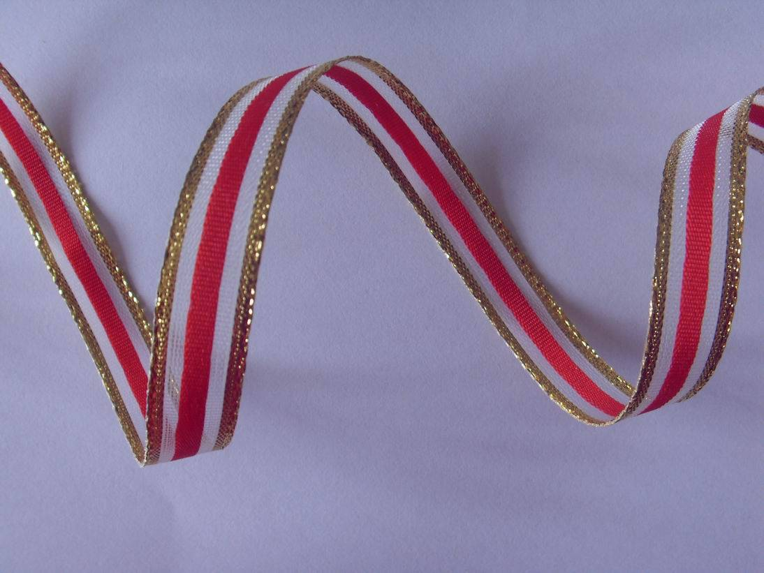 gold/red stripes net ribbon