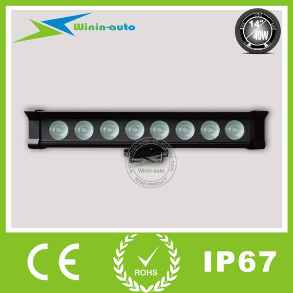 14 40W one row LED work light bar for vehicles full flood beam 3400 Lumen WI9016-40