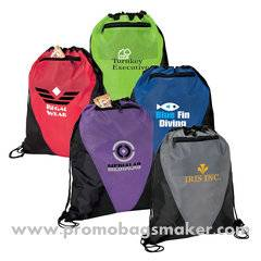 Tri-Color Promotional Drawstring Sports Bag - 13w x 18h