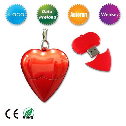 Red heart USB Flash Drive, Heart shape USB Flash Memory for Promotional Gift, heart shape USB Flash