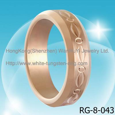 Noble Rose Gold Carving Tungsten Ring for Wedding Hot Sales
