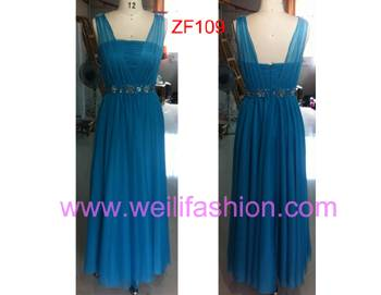 Long Beading Pleated Stretch Net Evening Dresses ZF109