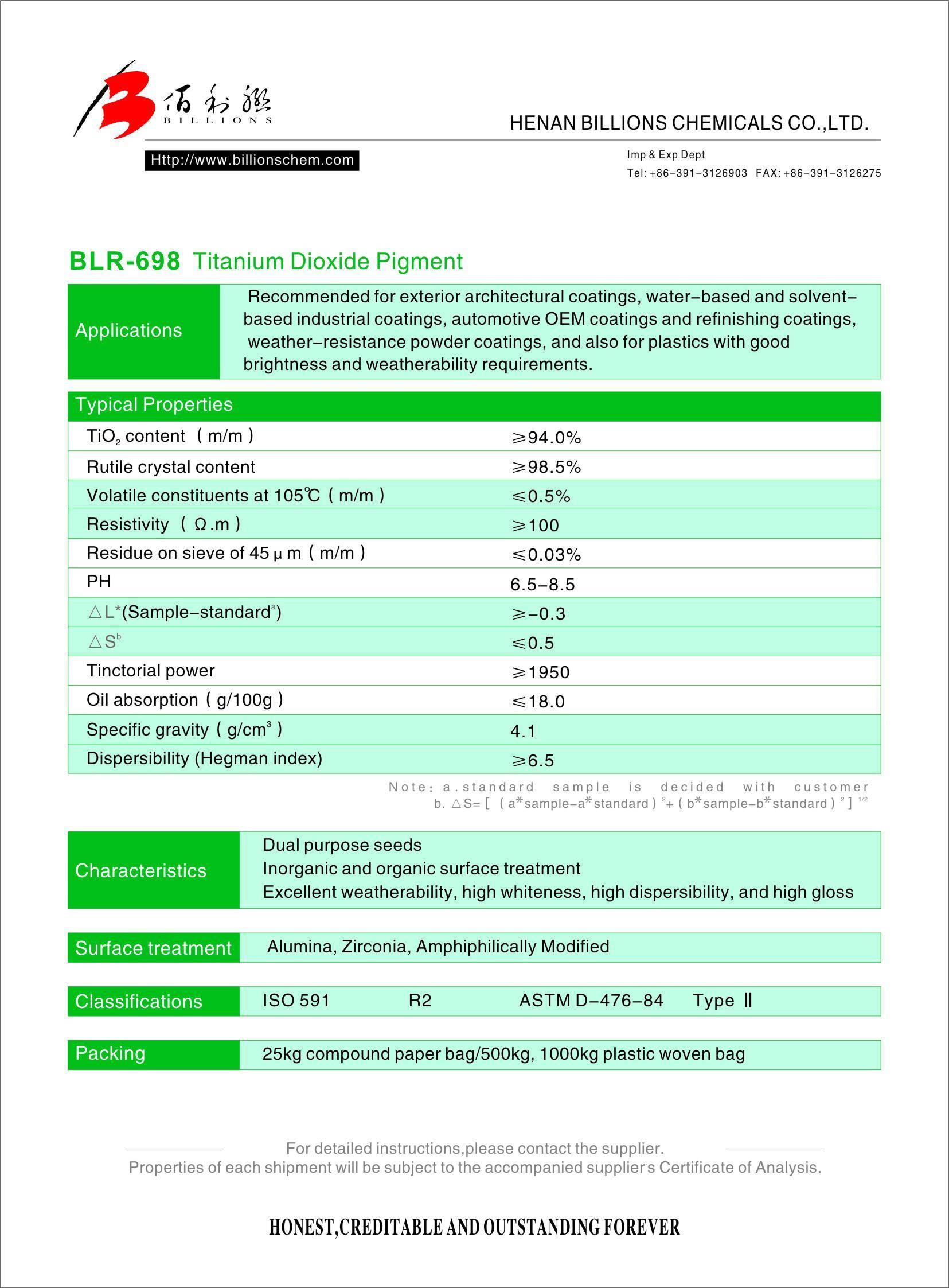 Titanium Dioxide Rutile BLR-698 - Henan Billions Chemicals Co , Ltd