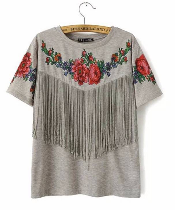 factory New collection printed tassels casual short sleeve lady blouse tee shirt Tshirt tassels whol