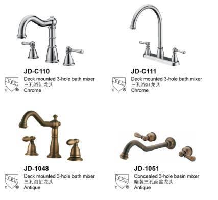 American style kitchen faucet tap dual handles chrome/antique