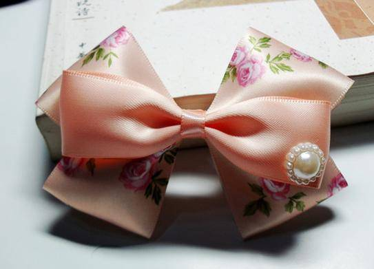 ribbon bow with elastic loop for hair decoration